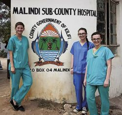 Sylwia, Nicola and Jill outside their Kenyan hospital base