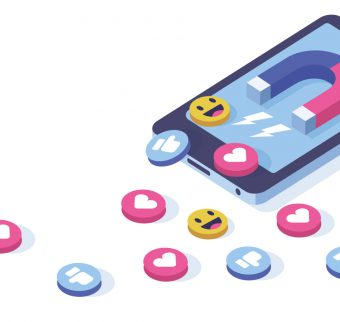 Graphic depicting social media icons and magnet on a mobile phone