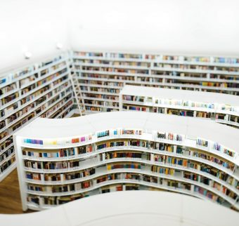 Overhead image of library shelving