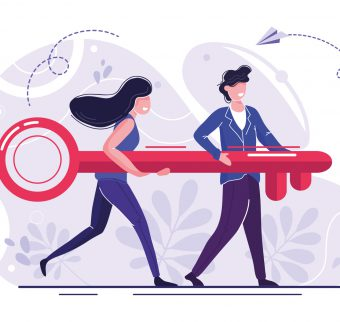 Illustration of two colleagues carrying a key