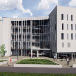 A rendering of the exterior of the new dental school